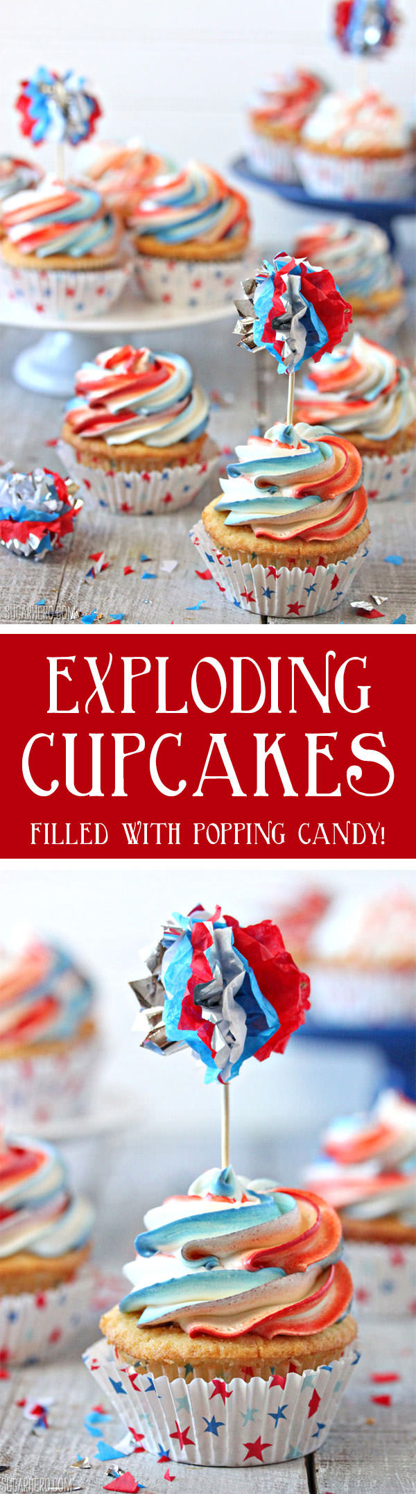Exploding Cupcakes filled with popping candy | From SugarHero.com