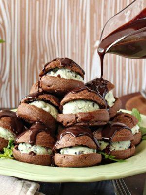 Chocolate Profiteroles with Fresh Mint Ice Cream | From SugarHero.com