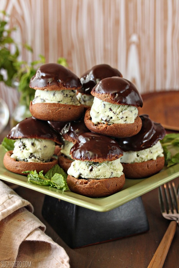 Chocolate Profiteroles with Fresh Mint Chip Ice Cream | From SugarHero.com