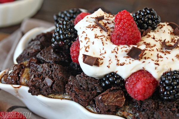 Brownie Bread Pudding | From SugarHero.com