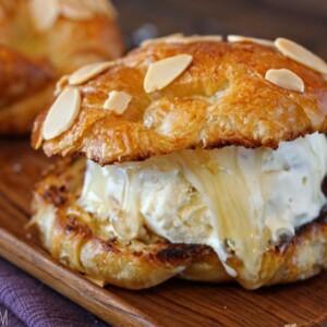 Croissant Salted Honey Ice Cream Sandwich | From SugarHero.com