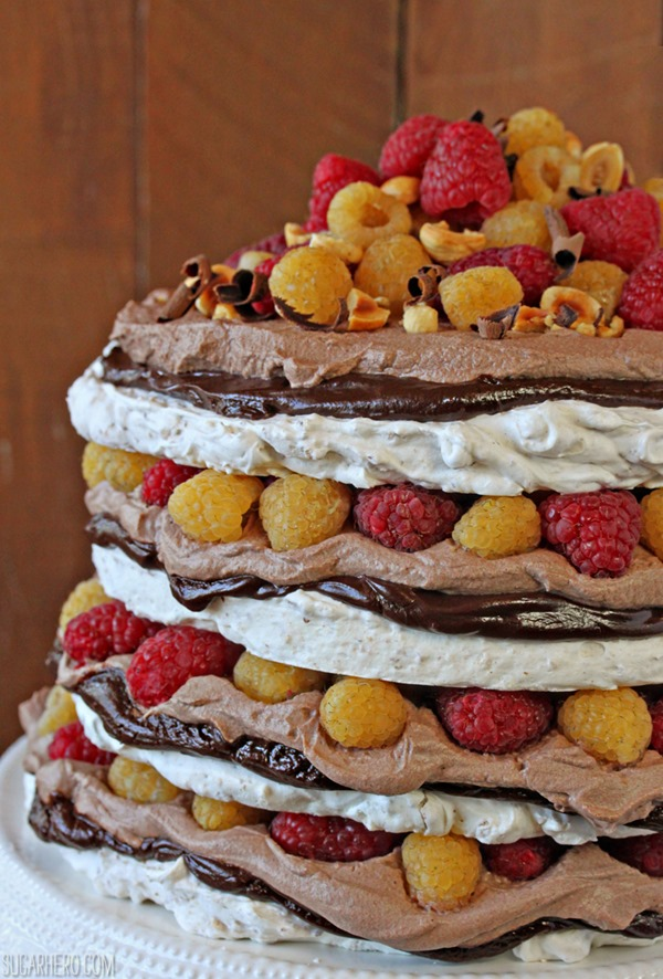 Hazelnut Meringue Cake | From SugarHero.com