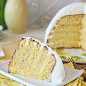 Lemon Coconut Snowball Cake | From SugarHero.com