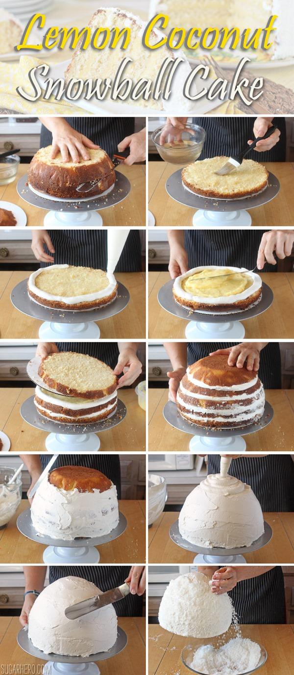 How to Make A Lemon Coconut Snowball Cake   From SugarHero.com