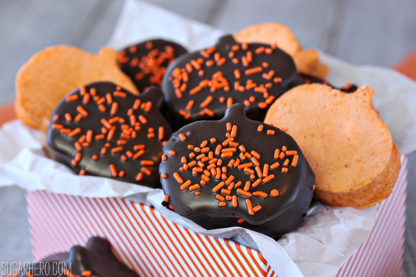 Chocolate-Dipped Pumpkin Marshmallows | From SugarHero.com