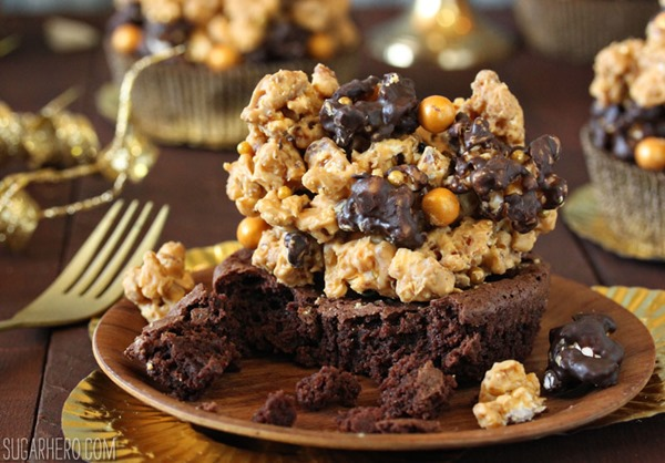 Double Caramel Popcorn Brownies | From SugarHero.com