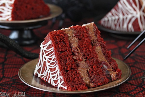 Spiderweb Naked Red Velvet Cake | From SugarHero.com