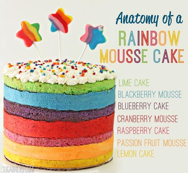 Rainbow Mousse Cake | From SugarHero.com