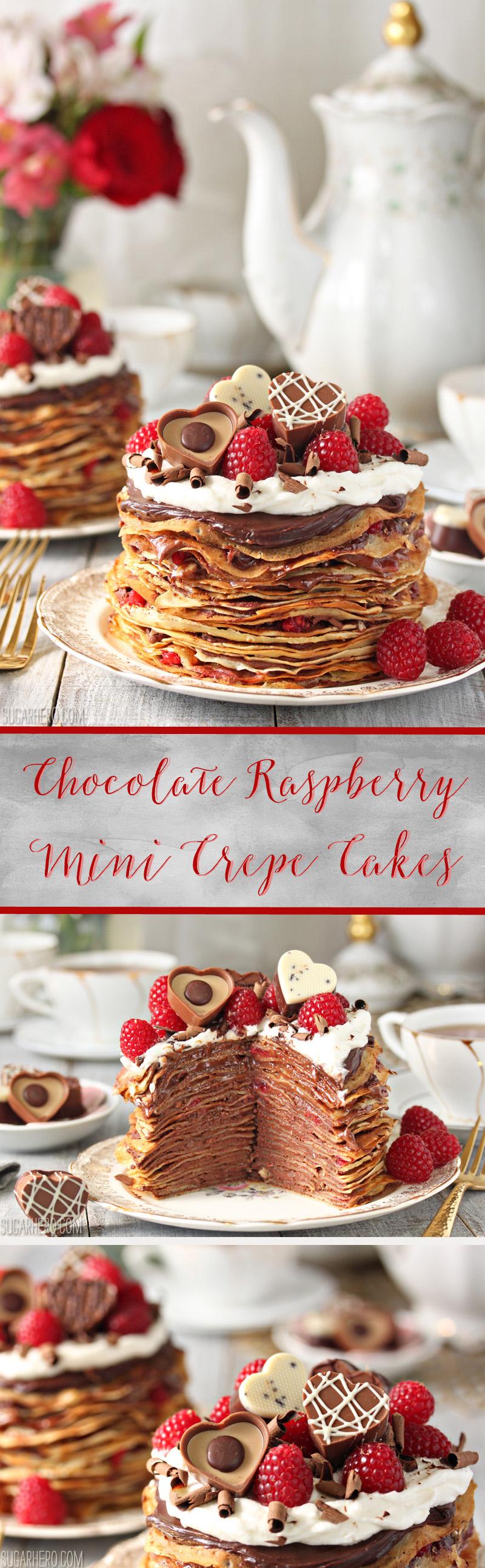 Chocolate Raspberry Mini Crepe Cakes - gorgeous mini cakes made with crepes, chocolate, and raspberries! | From SugarHero.com