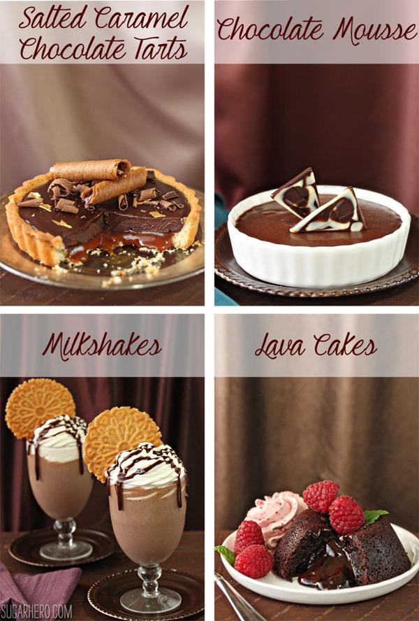 Four Fantastic Ways to Use Ganache: Tarts, Mousse, Milkshakes, and Lava Cakes   From SugarHero.com