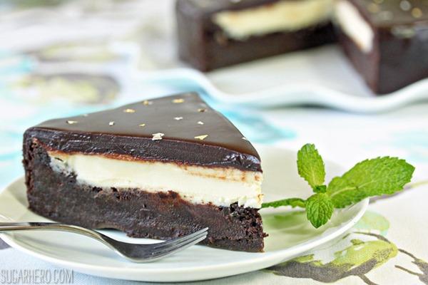 Peppermint Patty Flourless Chocolate Cake | From SugarHero.com