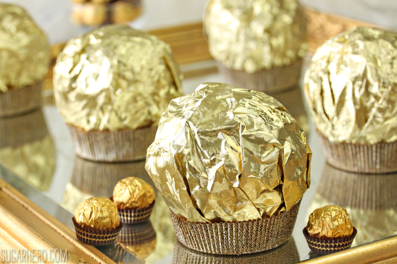 Giant Ferrero Rocher Hazelnut Mousse Cakes - full of chocolate cake and hazelnut mousse! | From SugarHero.com