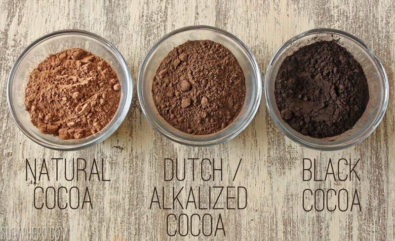 Different Cocoa Powders from SugarHero.com