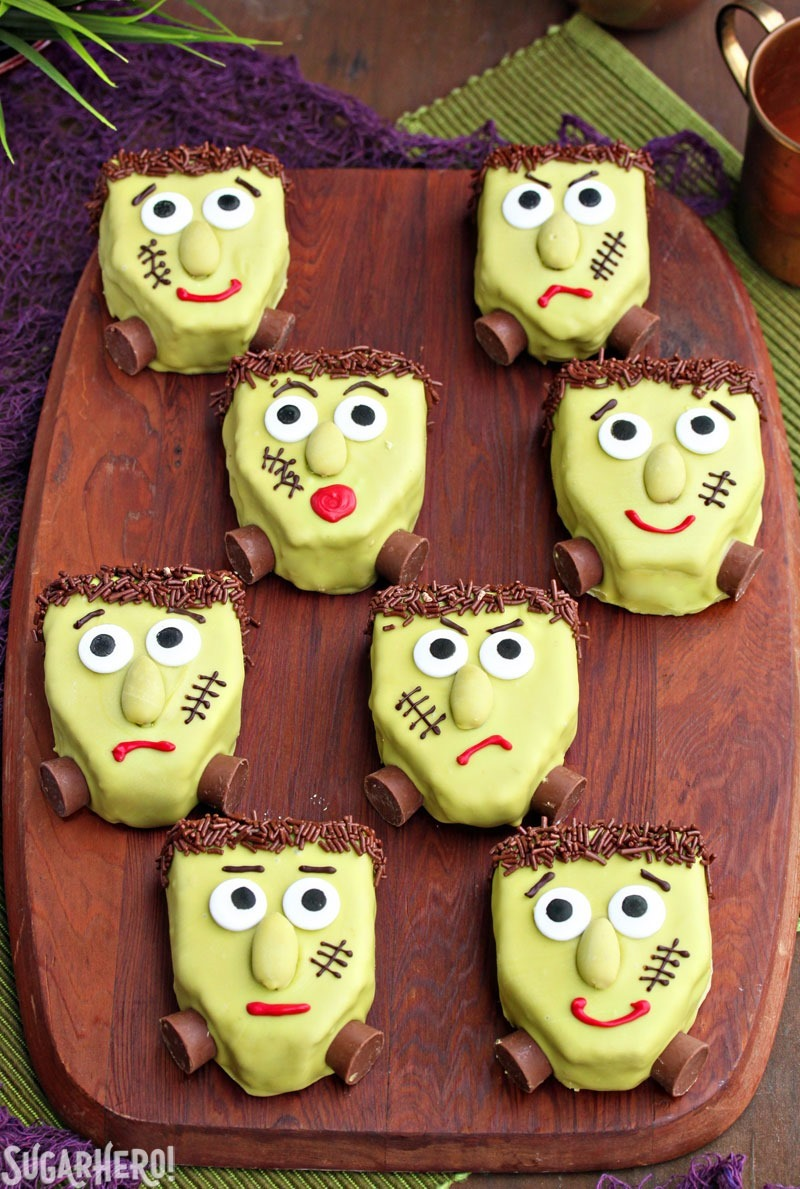 Frankenstein Pistachio Blondies | From SugarHero.com