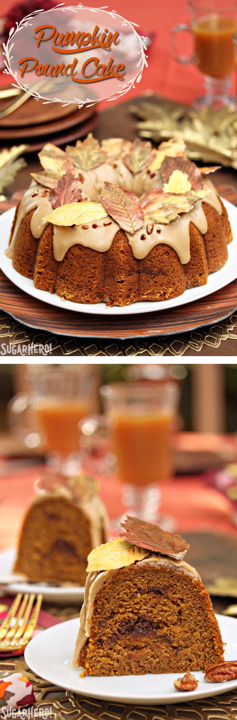 Cinnamon Swirl Pumpkin Pound Cake   From SugarHero.com