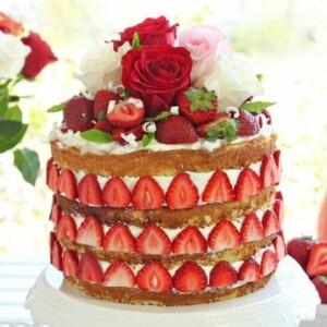 Strawberry Rhubarb Shortcake   From SugarHero.com