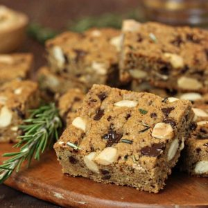 Rosemary Almond Blondies | From SugarHero.com