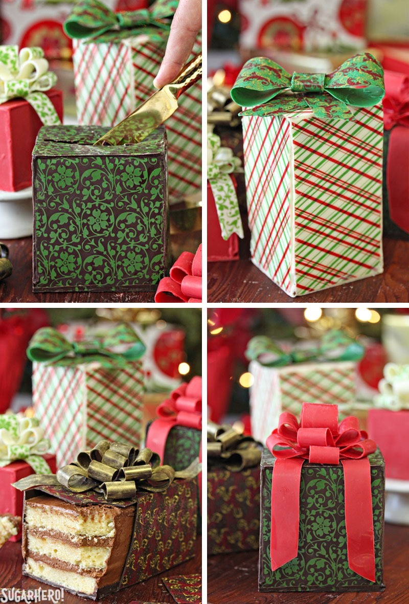 Chocolate-Wrapped Present Cakes | From SugarHero.com