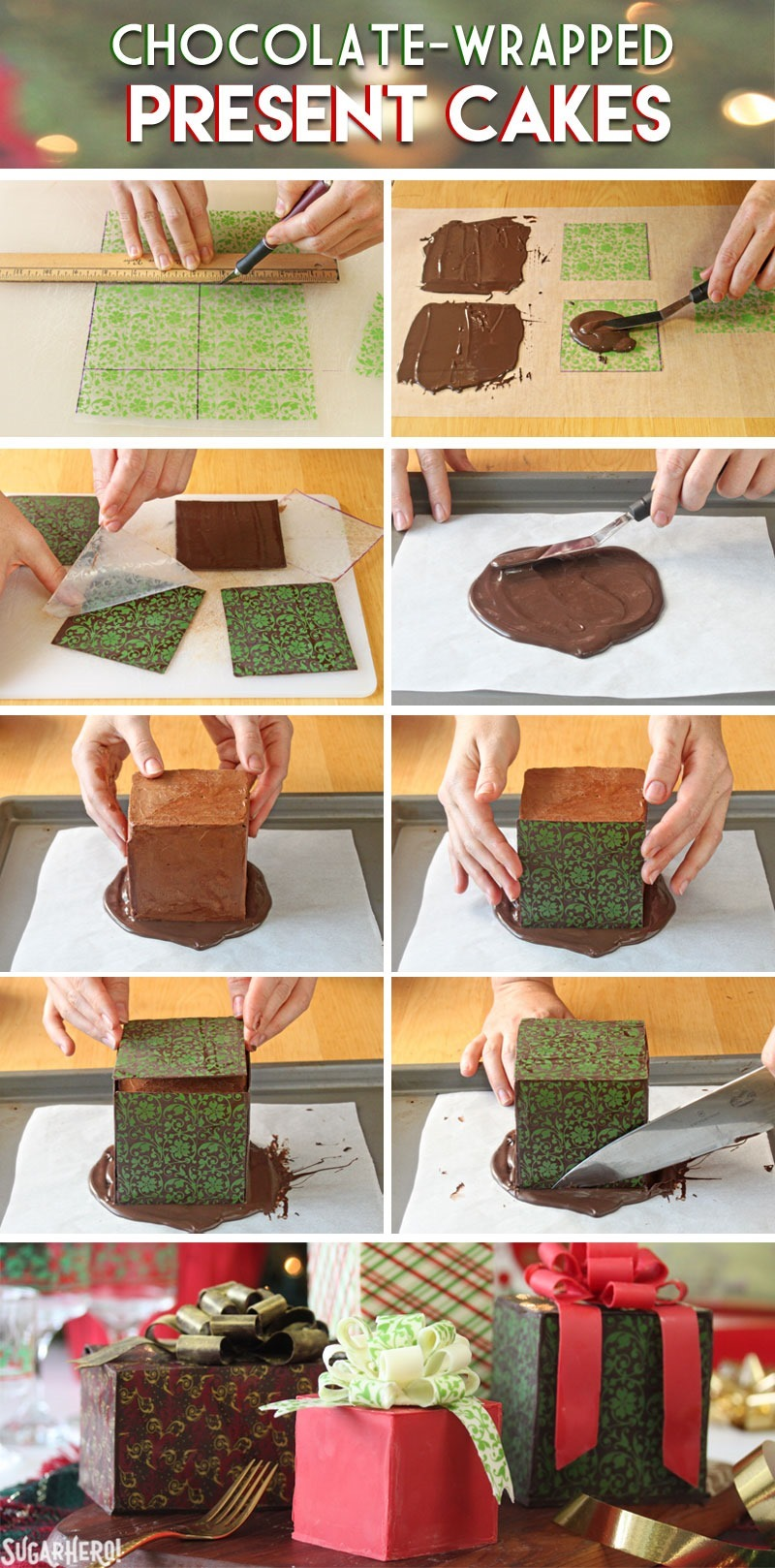 How to Make Chocolate-Wrapped Present Cakes | From SugarHero.com