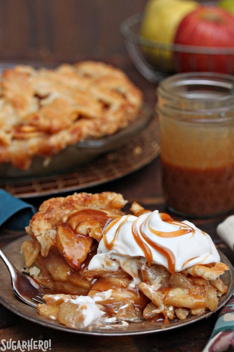 Salted Caramel Apple and Pear Pie | From SugarHero.com