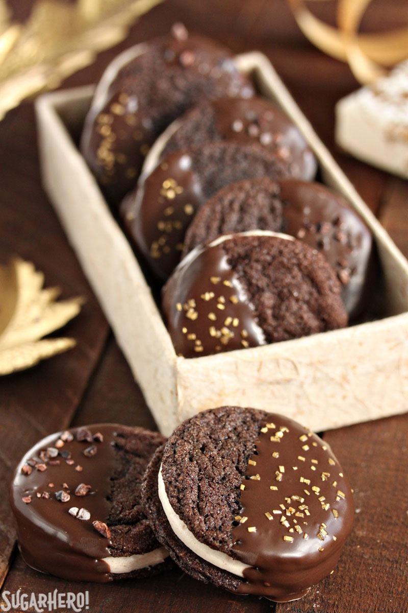 Spicy Chocolate Caramel Sandwich Cookies | From SugarHero.com