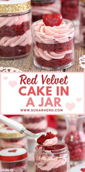 Red Velvet Cake in a Jar | From SugarHero.com