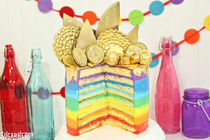 Pot of Gold Rainbow Cake | From SugarHero.com