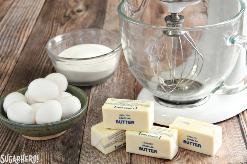 How to Make Swiss Meringue Buttercream - A picture of eggs, butter, and sugar. | From SugarHero.com