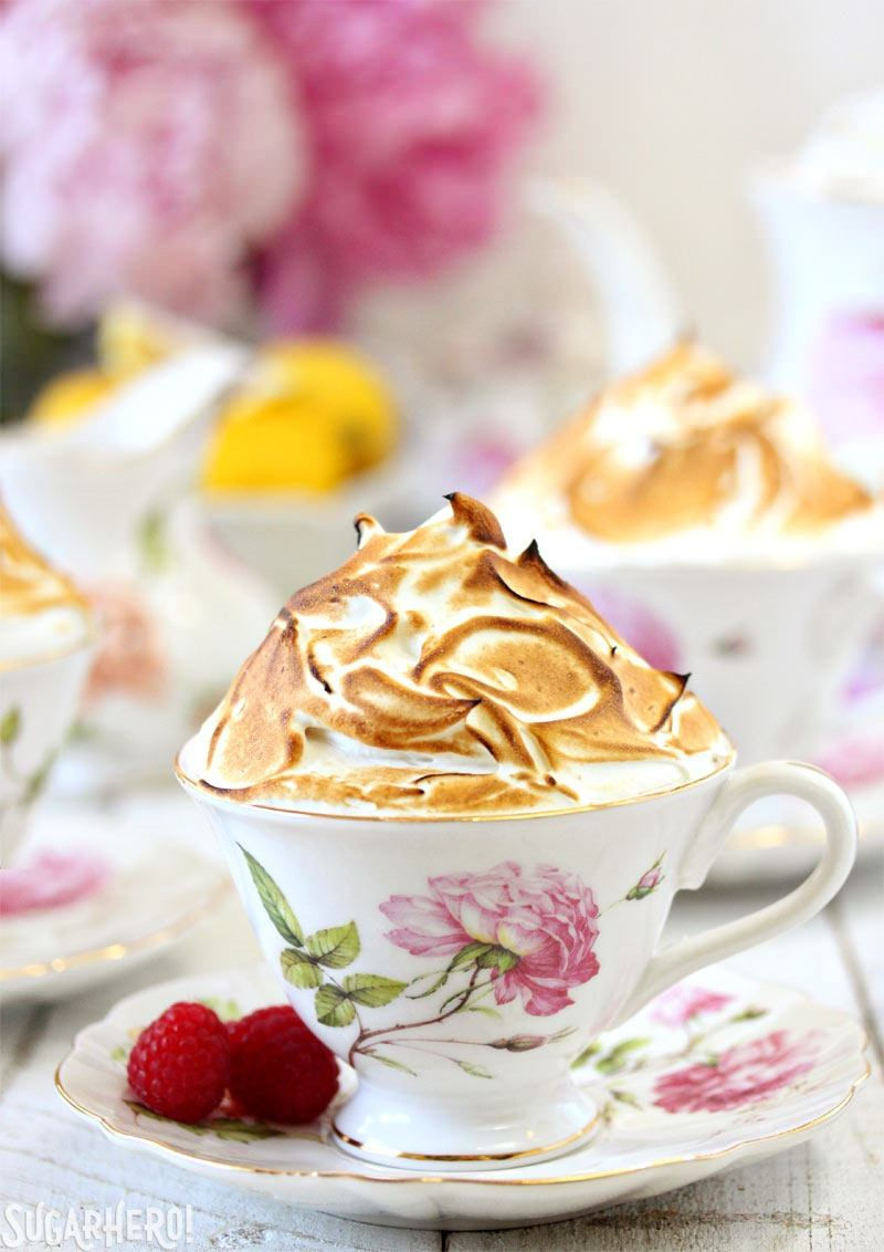 Lemon Meringue Teacup Cakes | From SugarHero.com