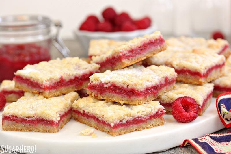 Raspberry Rhubarb Almond Bars | From SugarHero.com