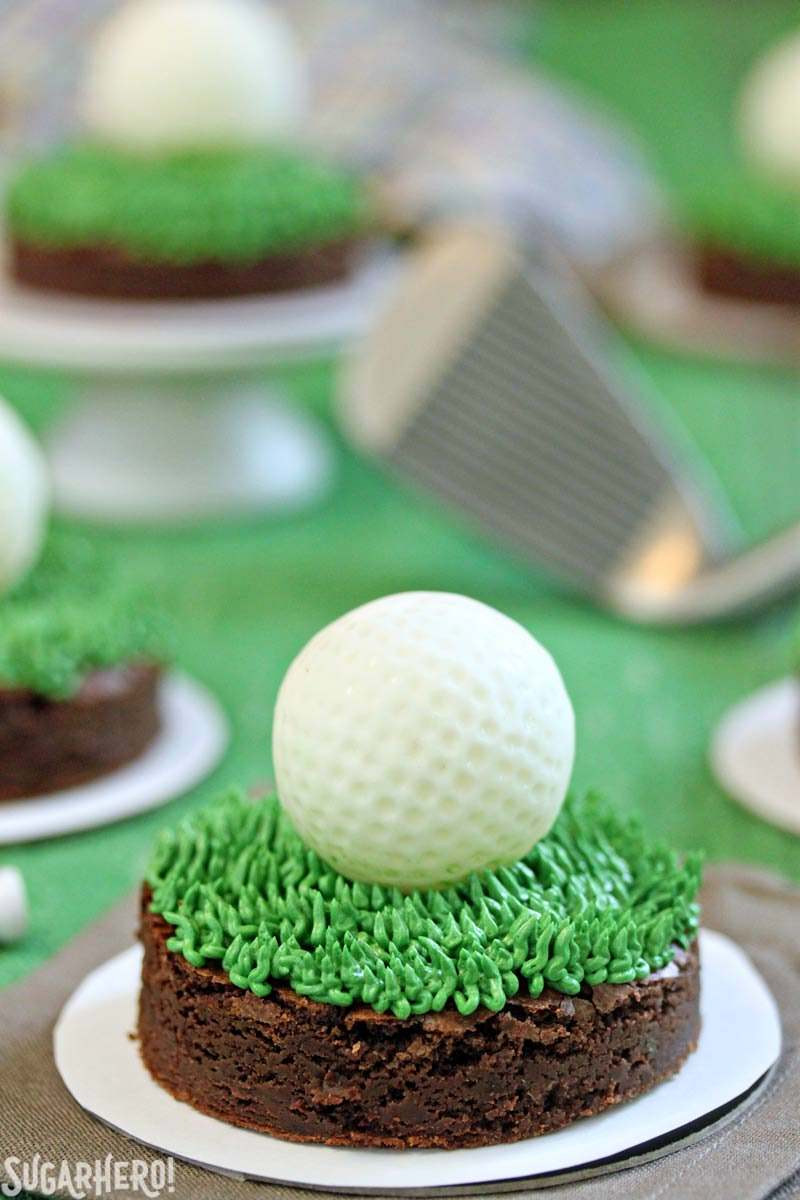 Golf Ball Truffles and Putting Green Brownies | From SugarHero.com