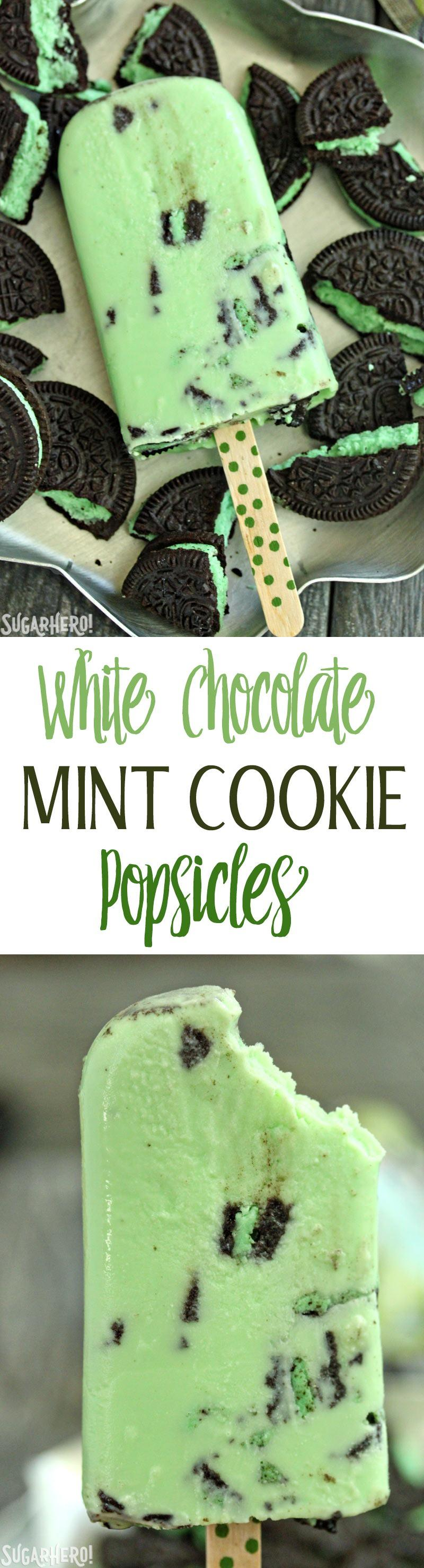 White Chocolate Mint Cookie Popsicles | From SugarHero.com