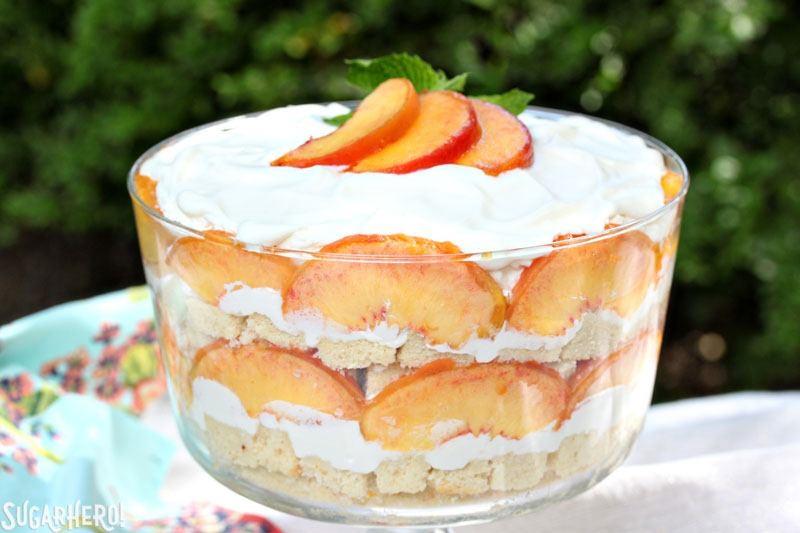 Peaches and Cream Trifle | From SugarHero.com
