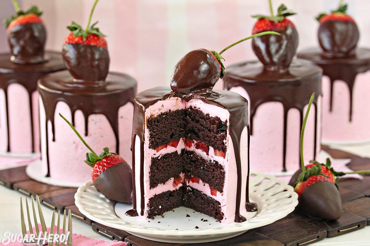Chocolate Covered Strawberry Cakes | From SugarHero.com