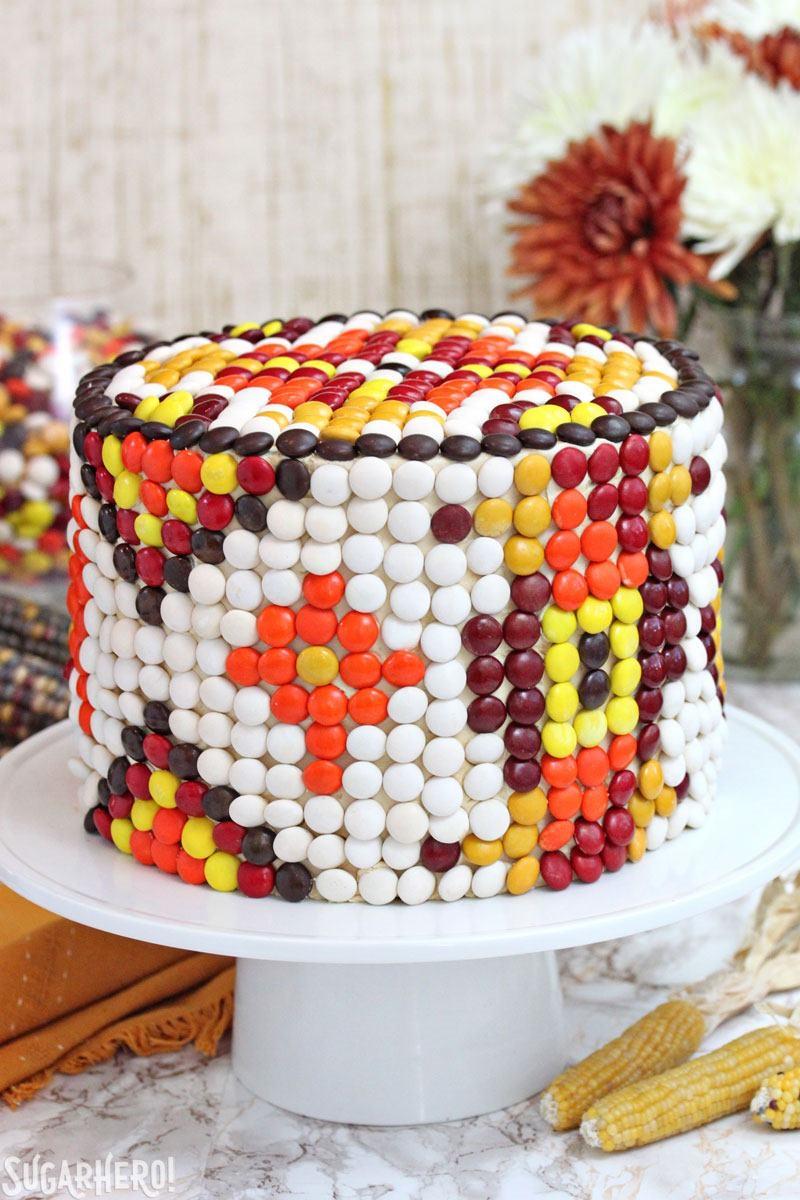Patterned M&M's Cake | From SugarHero.com