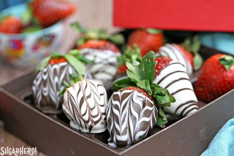 Chocolate-Covered Strawberries 5 Ways - 5 easy tricks to making gorgeous chocolate-dipped strawberries! | From SugarHero.com
