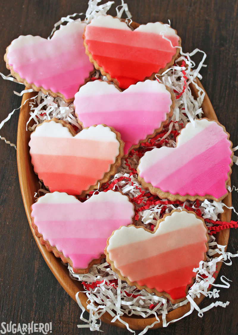 Brown Butter Heart Cookies - ombre sugar cookies in a wooden bowl | From SugarHero.com
