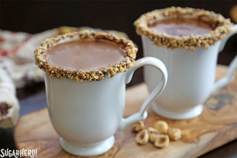 Nutella Hot Chocolate – a rich, indulgent sipping chocolate with Nutella mixed right in! | From SugarHero.com