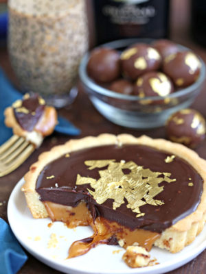 Bailey's Chocolate Caramel Tarts | From SugarHero.com