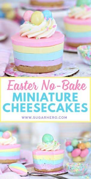 Easter No-Bake Miniature Cheesecakes | From SugarHero.com