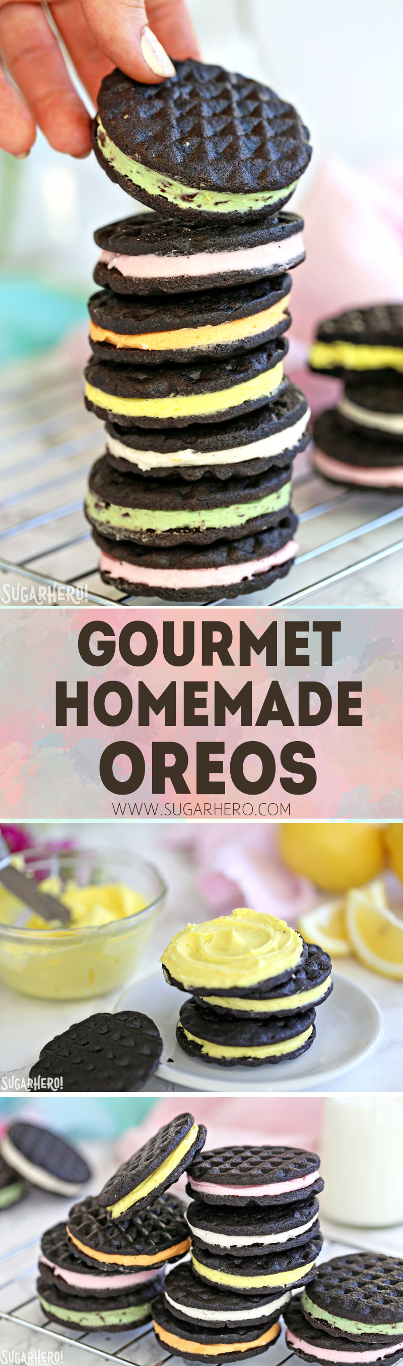 Gourmet Homemade Oreos - with different flavors of cream filling! | From SugarHero.com