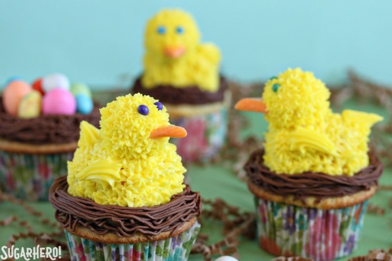 Spring Chick Cupcakes - Three cupcakes with the spring chick on top. | From SugarHero.com