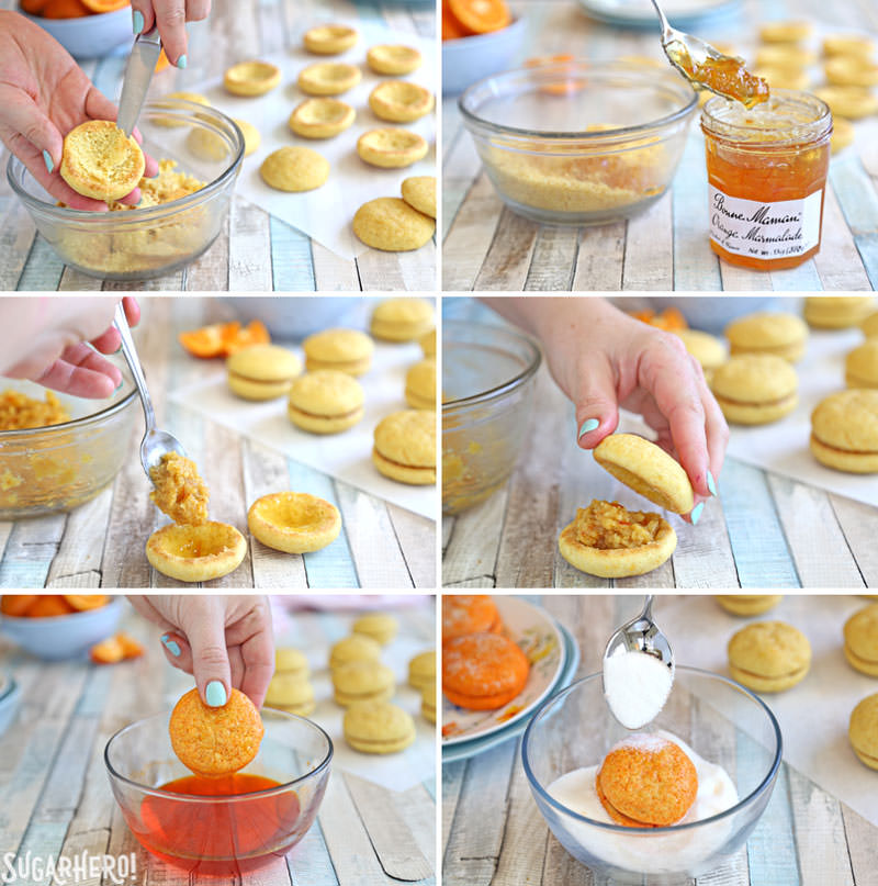 How to Make Clementine Cookies - beautiful sandwich cookies that look AND taste like real clementines! | From SugarHero.com