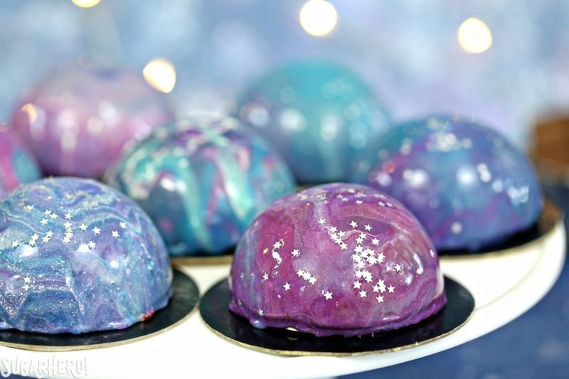 Galaxy Mousse Cakes with Mirror Glaze - SugarHero