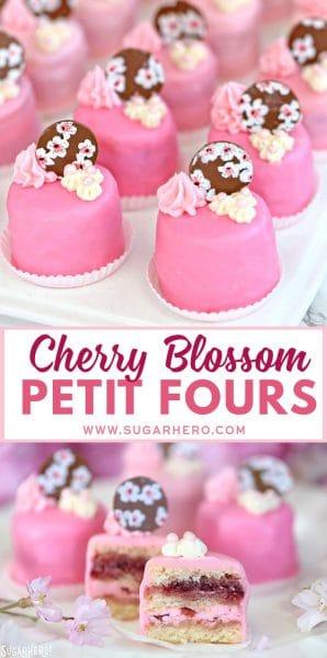 Cherry Blossom Petit Fours | From SugarHero.com