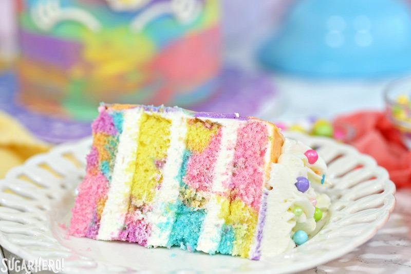 Unicorn Cakes - colorful miniature unicorn cakes from SugarHero.com