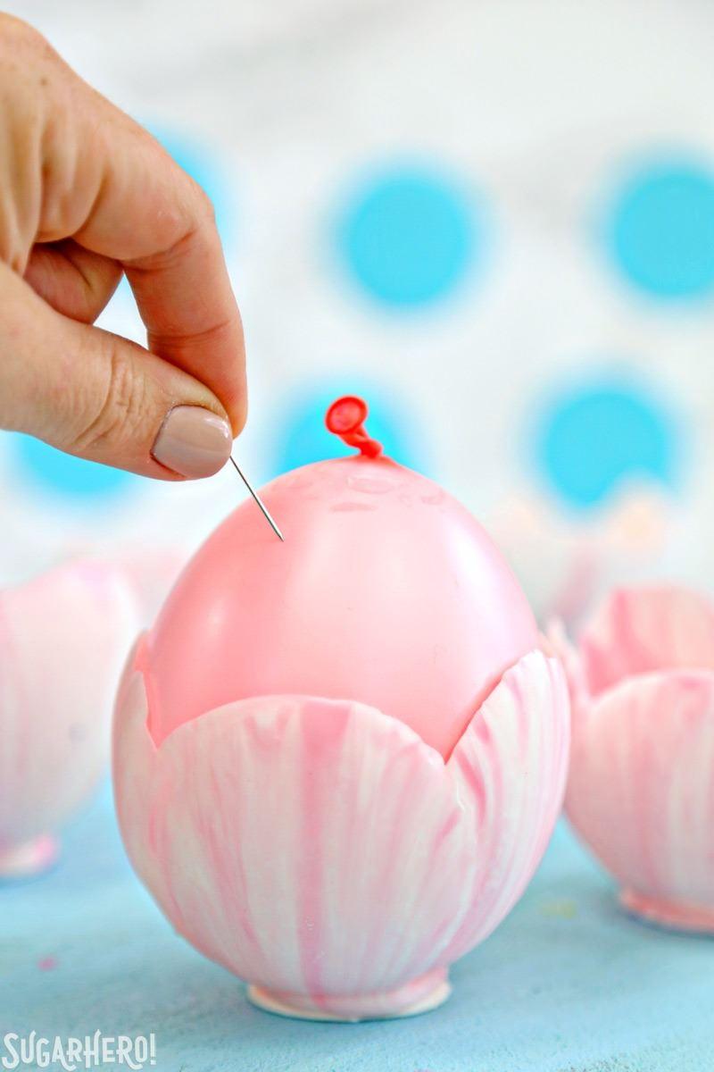 Swirled pink and white chocolate tulip bowls   From SugarHero.com