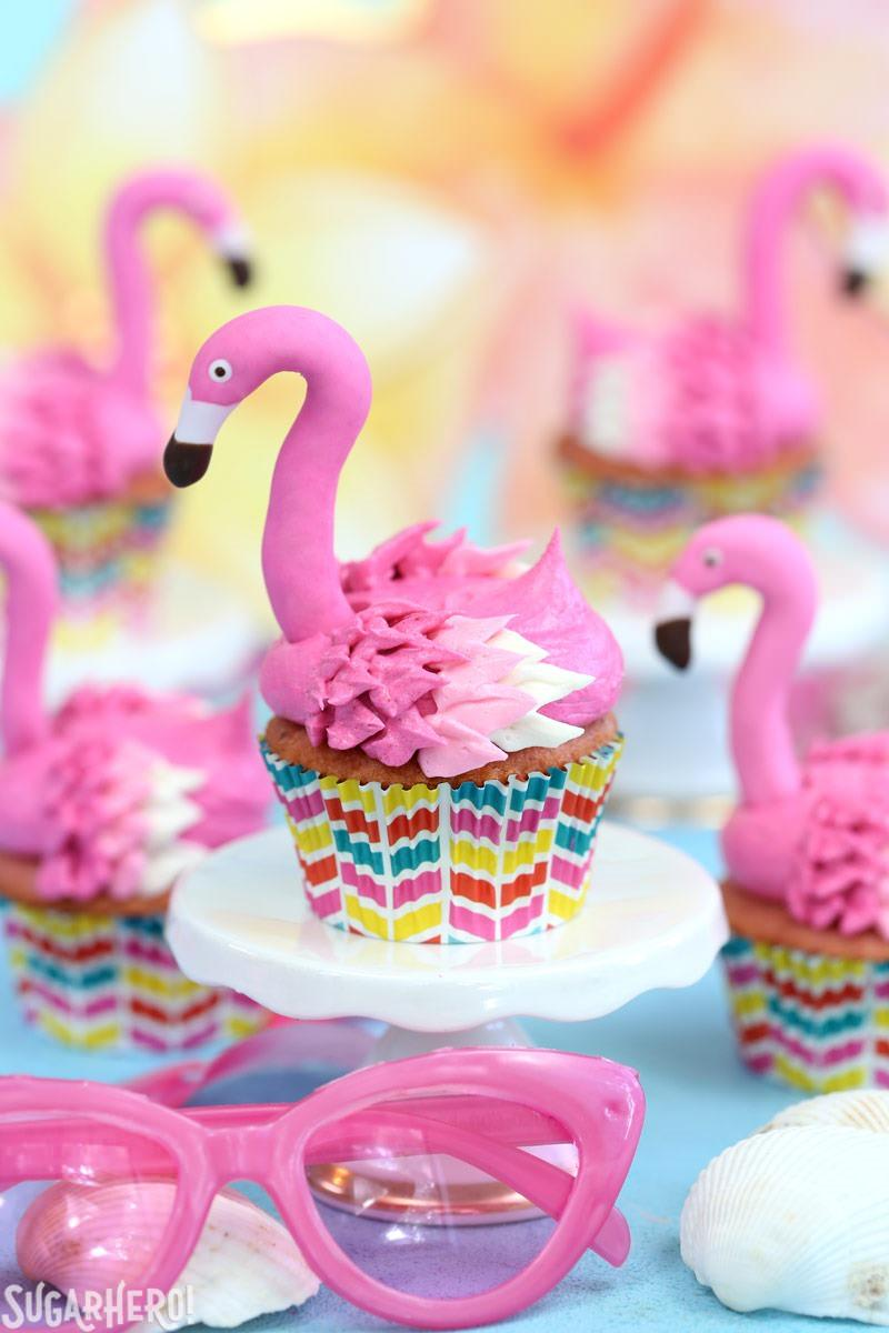Pink Lemonade Flamingo Cupcakes with Fondant Flamingo Heads | From SugarHero.com