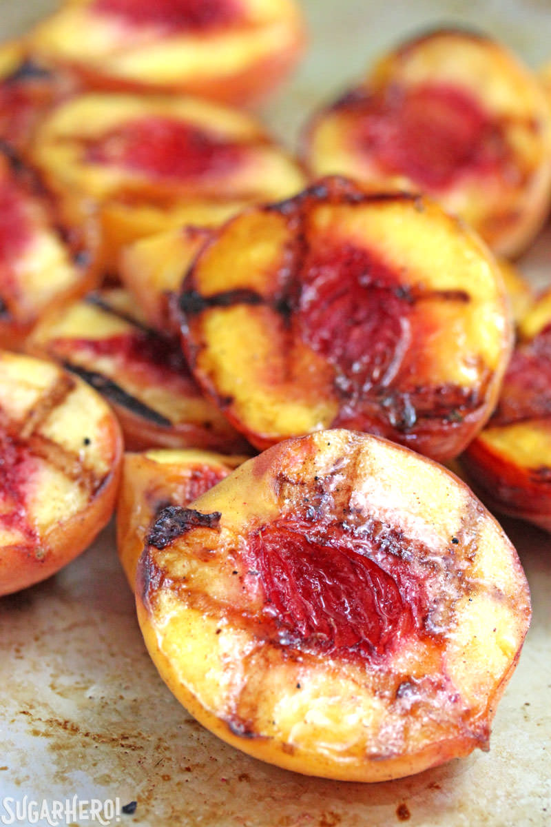 Juicy, ripe grilled peaches | From SugarHero.com