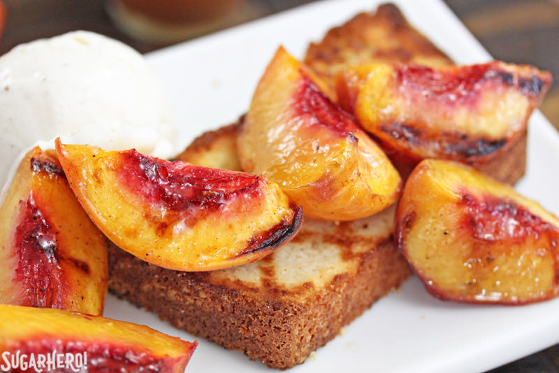 Grilled pound cake with grilled peaches and vanilla ice cream | From SugarHero.com